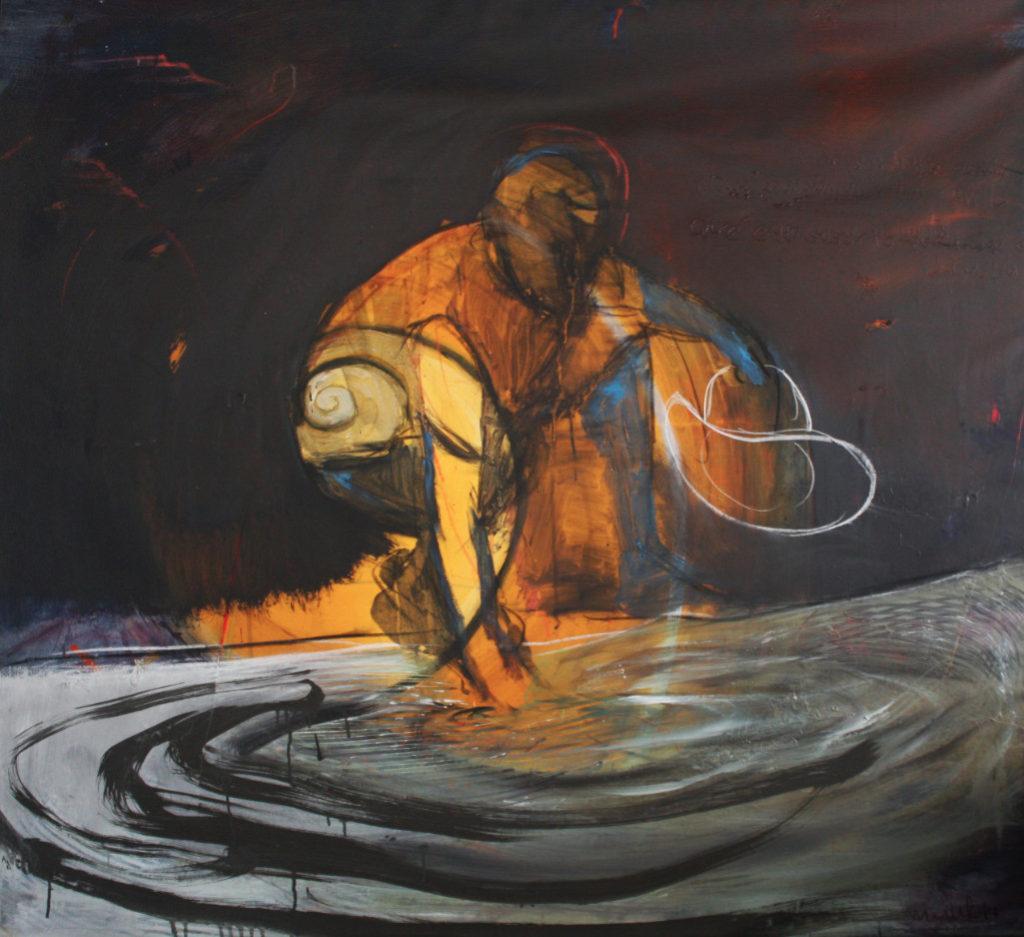 Lago para menguar. Acrílico sobre tela. 130x140 cm.
