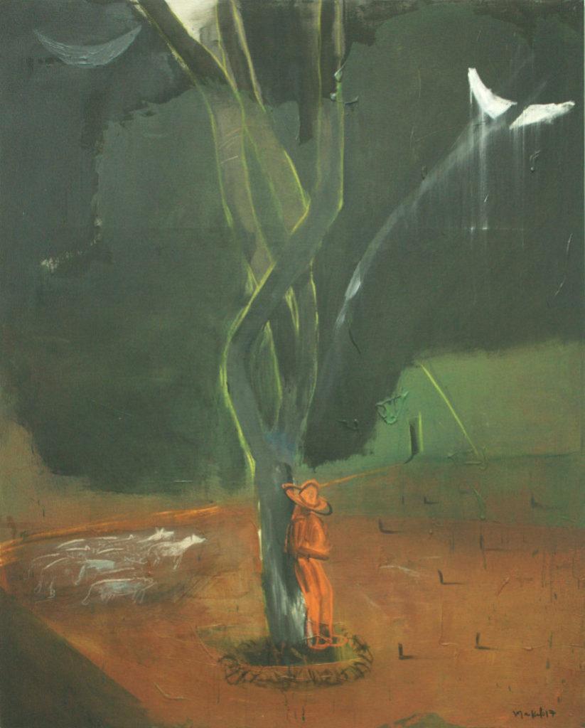 Luna en el árbol. Acrílico sobre tela. 150x130 cm.