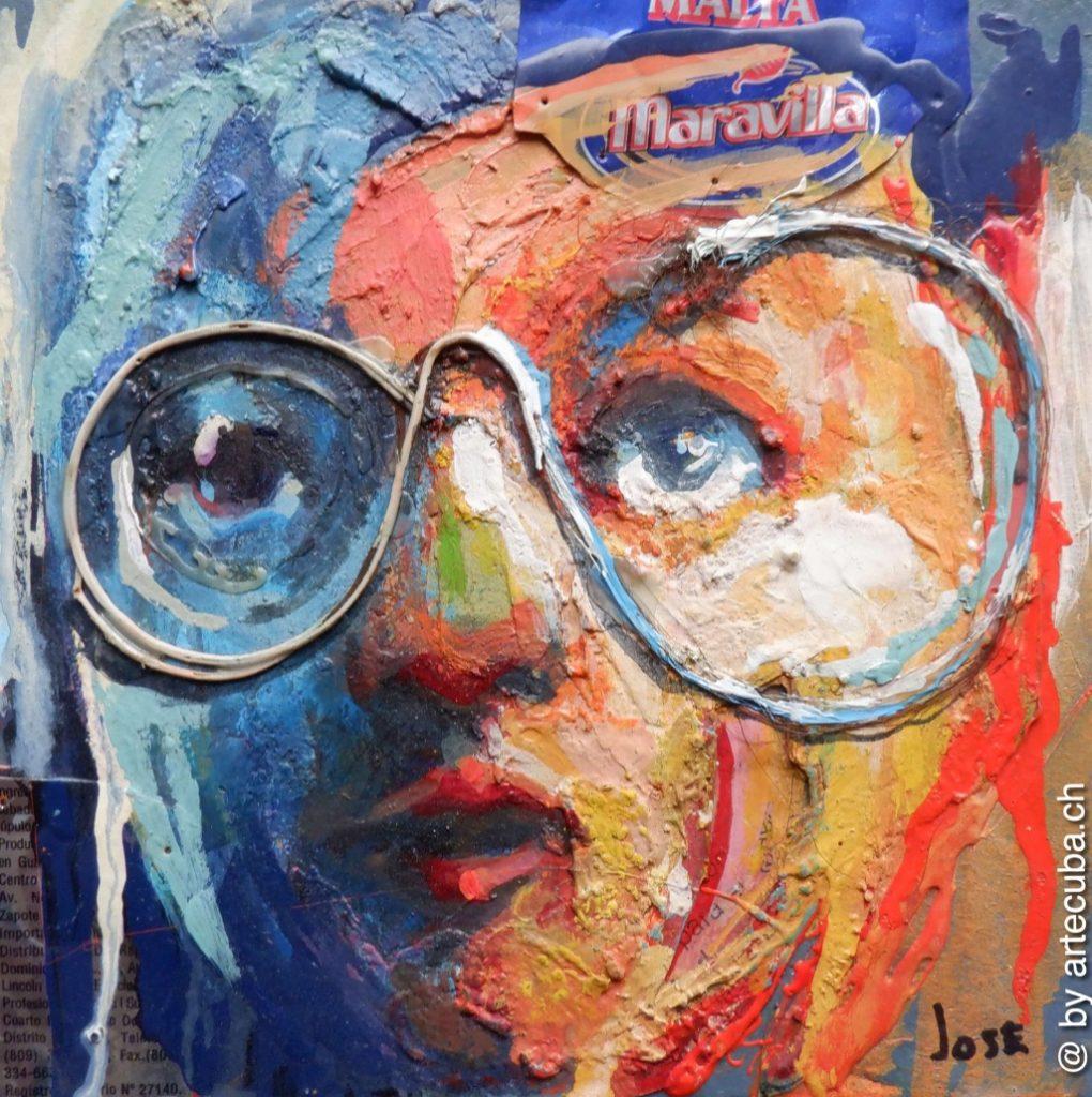 """Jose Luis Dias Martinez <em>Rostro con gafas III</em>, 2019 19 x 19 cm <a href=""""https://artecuba.ch/produkt/la-espalda-encantadora/"""">Info & Shop</a>"""